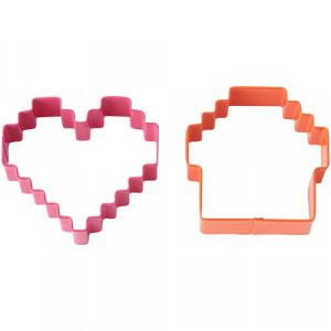 Wilton Pixel Cakes Utstickare, hjärta och cupcake