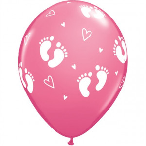 Qualatex Ballonger Fotspår och hjärtan, rosa