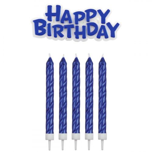 PME Tårtljus Happy Birthday, blå