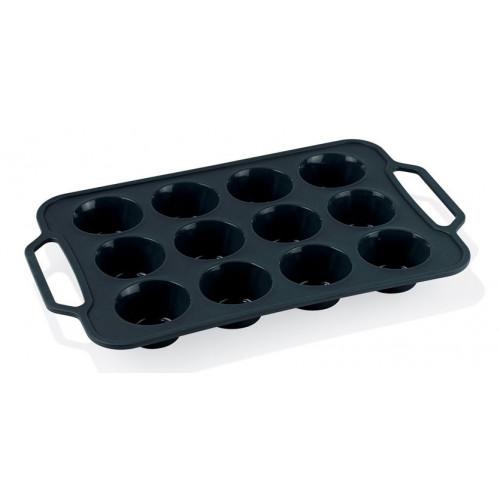 Funktion Muffinsform i silikon med handtag, 12 hål