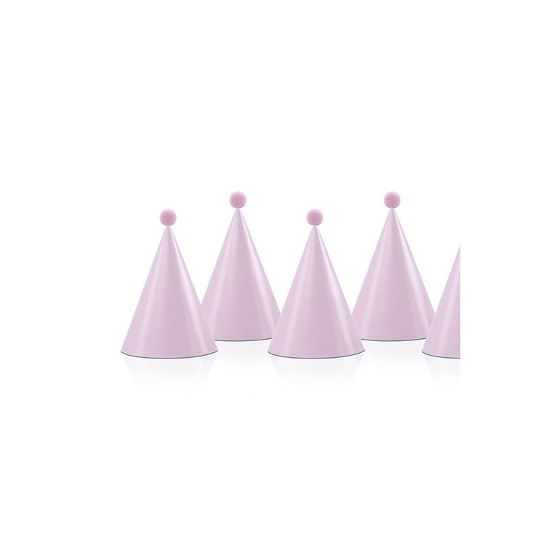 Partyhattar med pompoms, rosa