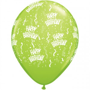 Qualatex Ballonger Happy Birthday, blandade färger, 6 st