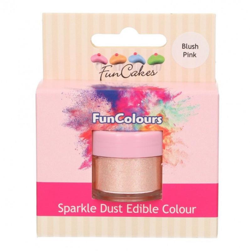 FunCakes Skimrande Pulverfärg Blush pink, ljusrosa