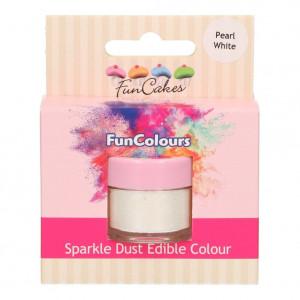 FunCakes Skimrande Pulverfärg Pearl White, vit