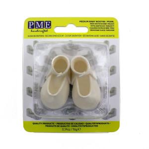 PME Tårtdekoration Ätbara babyskor mini, vit pärlemo