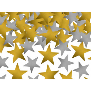 Konfetti Stjärnor, guld och silver