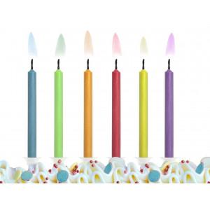 PartyDeco Tårtljus, färgad låga