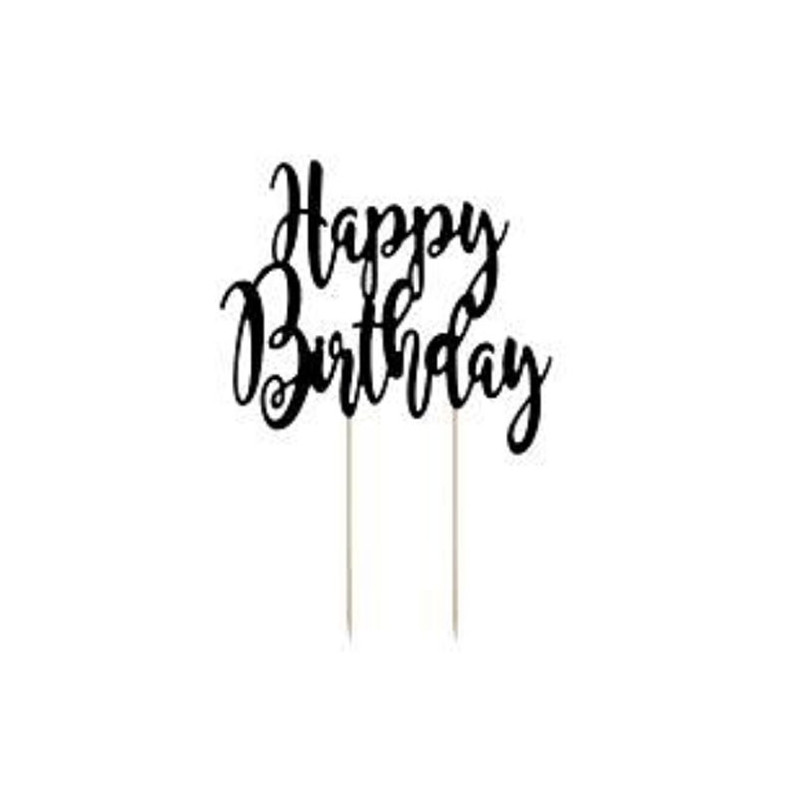 PartyDeco Cake Topper Happy Birthday, svart