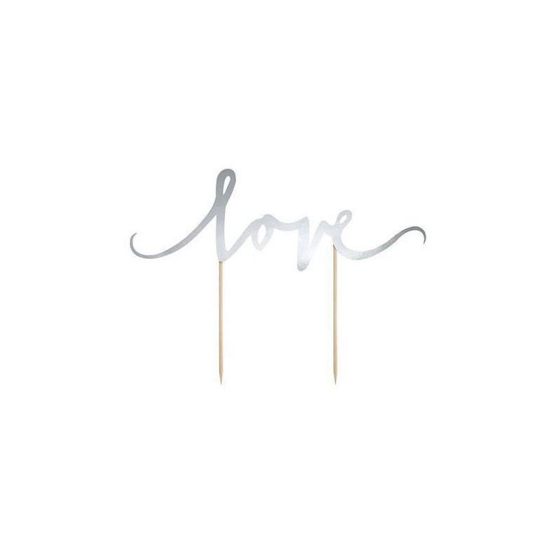 PartyDeco Cake Topper Love, silver
