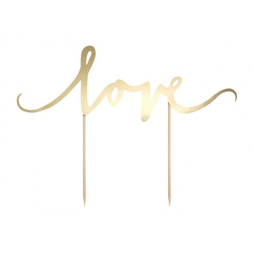 PartyDeco Cake Topper Love, guld