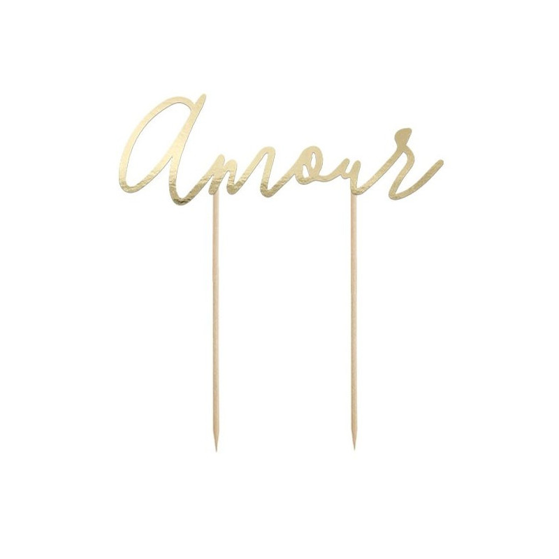 PartyDeco Cake Topper Amour, guld