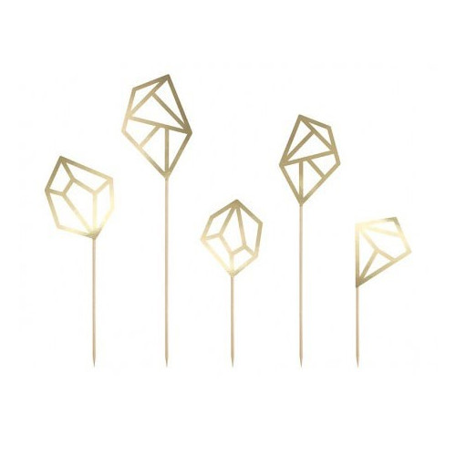 PartyDeco Cake Toppers Ädelstenar, guld