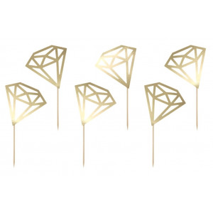 PartyDeco Cupcake Toppers Diamanter, guld
