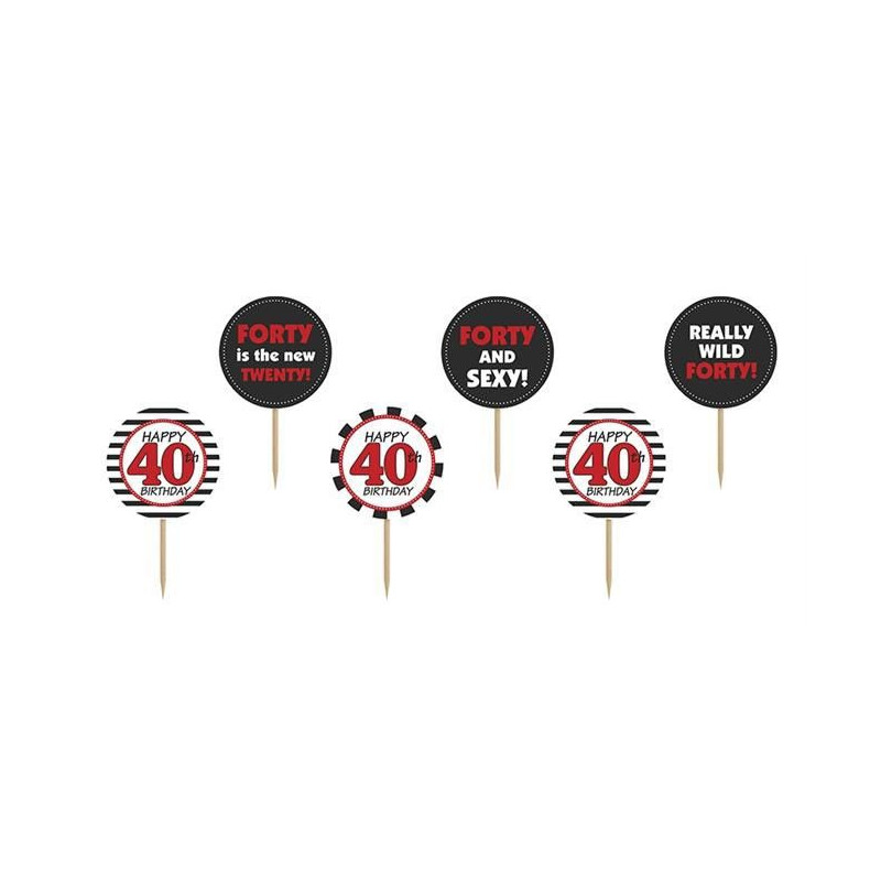 PartyDeco Cupcake Toppers 40th Birthday