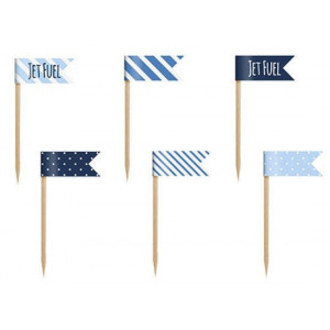 PartyDeco Cupcake Toppers Flaggor, Little plane, blå