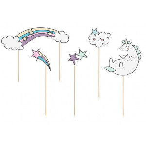 PartyDeco Cake Toppers Unicorn, Enhörning