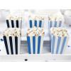 PartyDeco Popcornsbägare, blå och vit