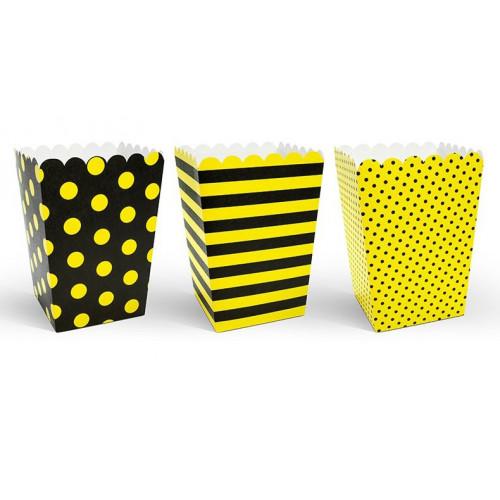 PartyDeco Popcornsbägare, gul och svart