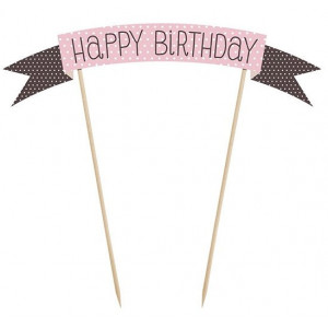 PartyDeco Cake Topper Banderoll, Happy Birthday