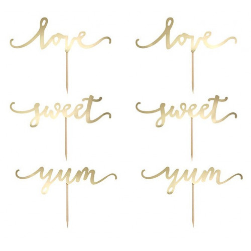 PartyDeco Cake Toppers Love, guld