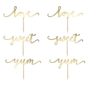 PartyDeco Cake Toppers Sweet Love, guld
