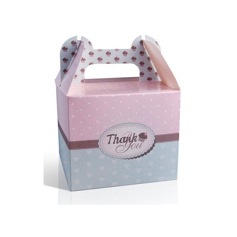 PartyDeco Tårtkartonger, rosa & mint, 10 st