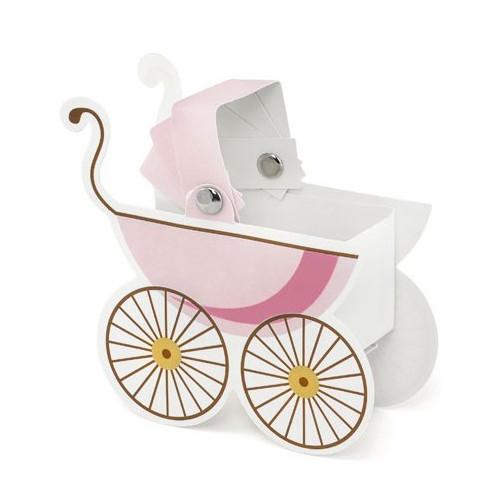 PartyDeco Presentaskar, barnvagn, rosa