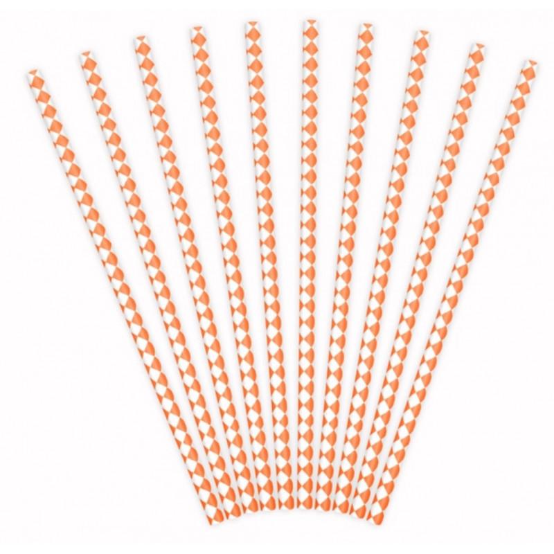 PartyDeco Sugrör Diamant, orange