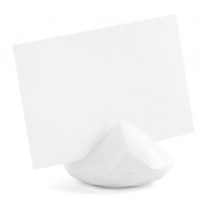 PartyDeco Bordsplaceringshållare Diamant, vit