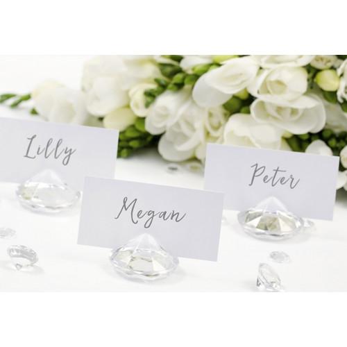 PartyDeco Bordsplaceringshållare Diamant, transparent