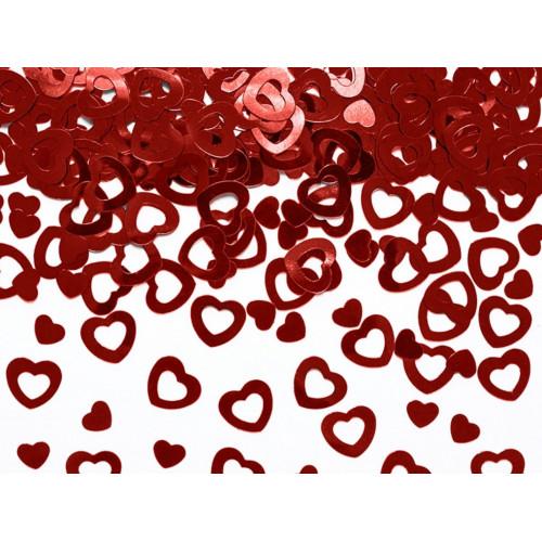PartyDeco Konfetti Hjärtan, 2 olika, röda