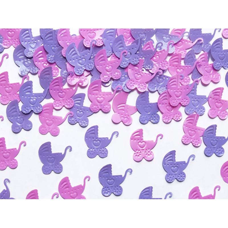 PartyDeco Konfetti Barnvagnar, rosa och lila