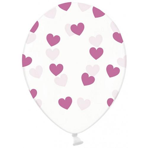 PartyDeco Ballonger Transparenta, hjärtan, ljuslila