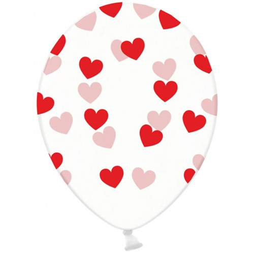 PartyDeco Ballonger Transparenta, hjärtan, röd
