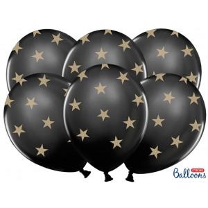 PartyDeco Ballonger Svarta med stjärnor