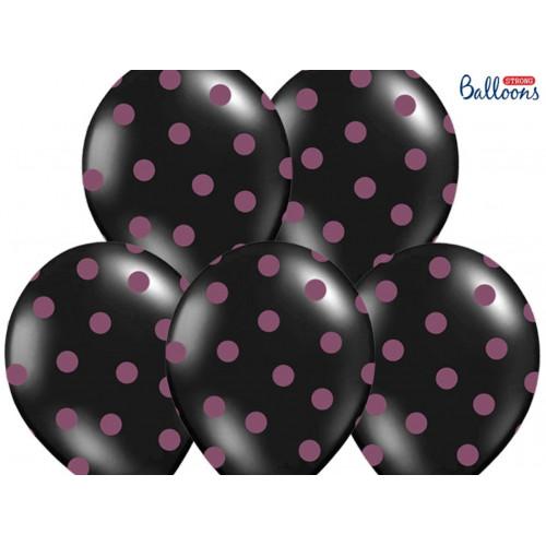 PartyDeco Ballonger Svarta med prickar