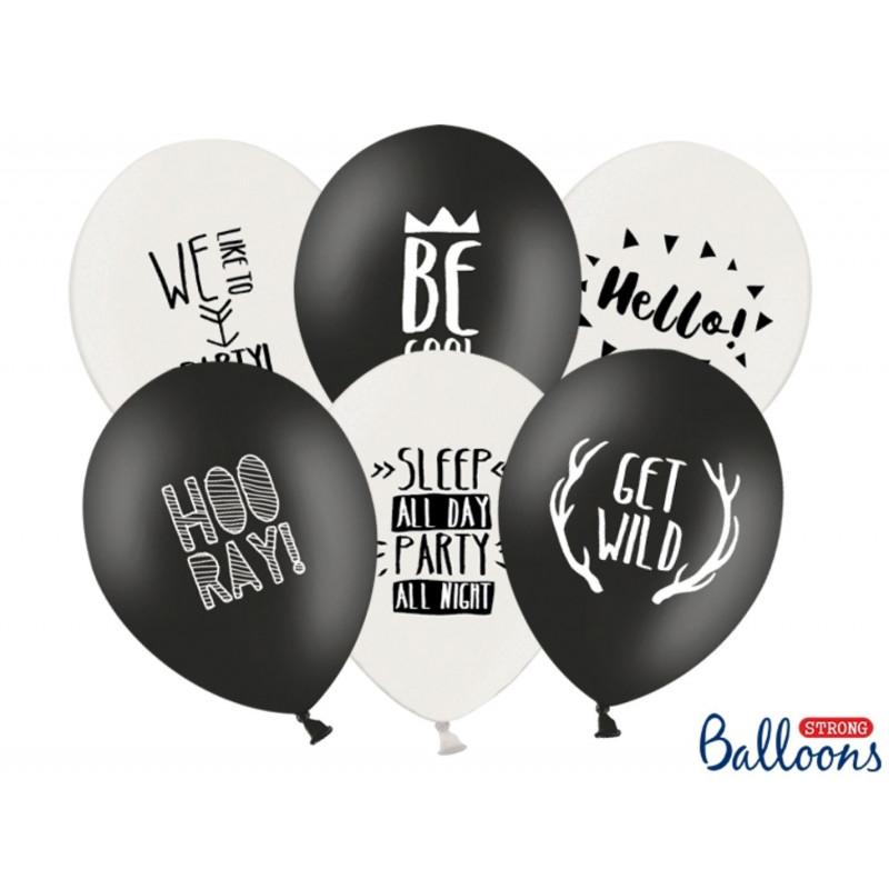 PartyDeco Ballonger Svarta och vita, Party