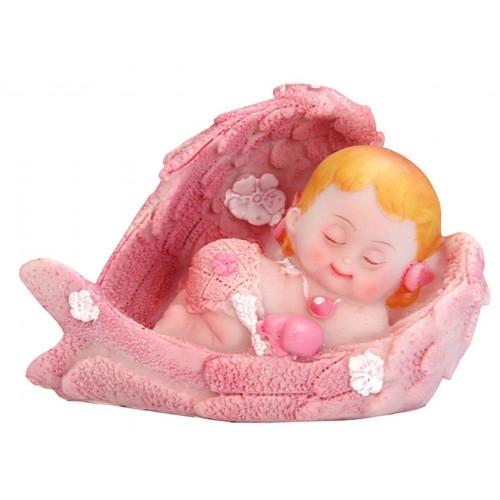 PartyDeco Tårtdekoration Baby i vingar, rosa