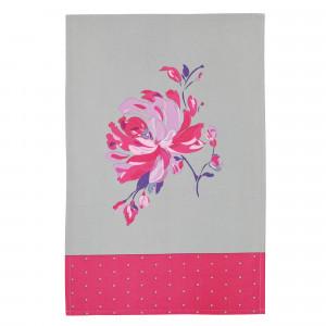 Kitchen Craft Kökshandduk Blommor, grå och rosa, 2-pack