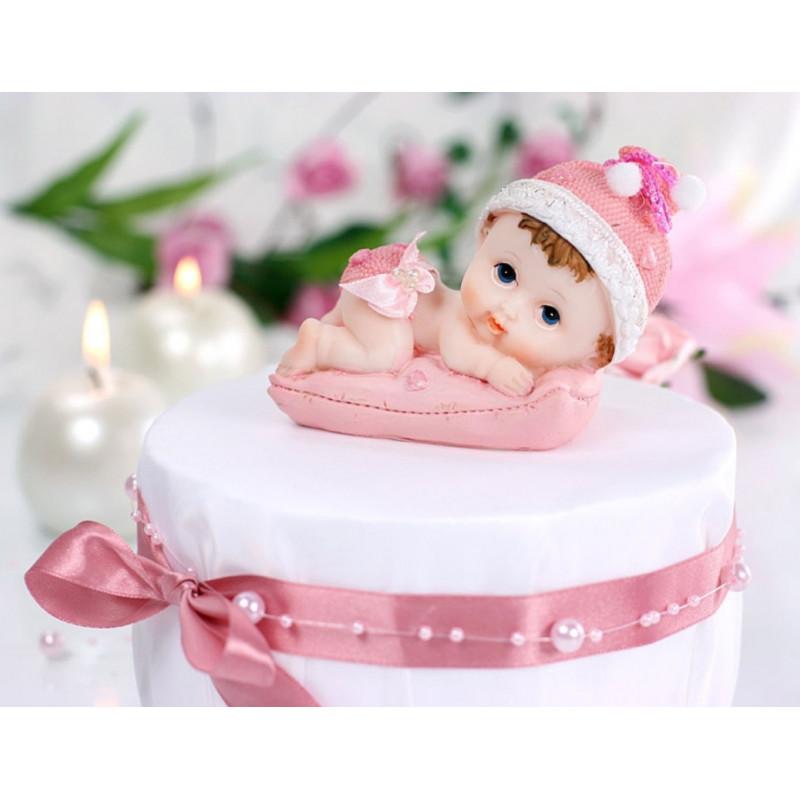 PartyDeco Tårtdekoration Baby på kudde, rosa