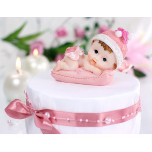 Dopdekoration till tårta, rosa baby på kudde