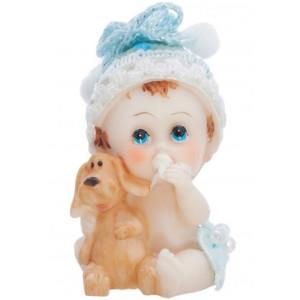 PartyDeco Tårtdekoration Baby med hund, blå