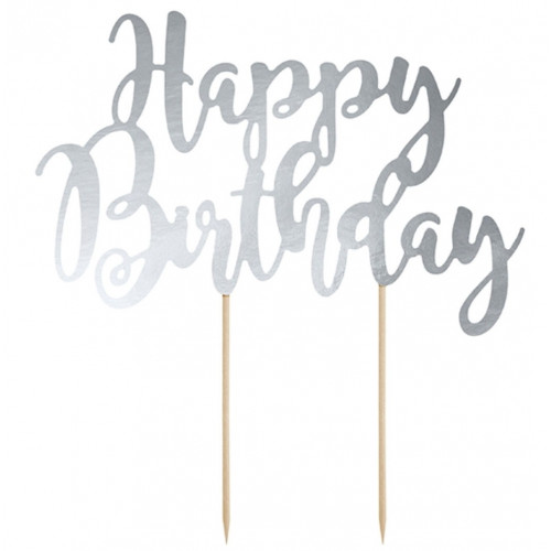 PartyDeco Cake Topper Happy Birthday, silver