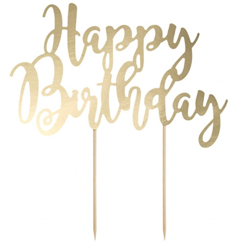 PartyDeco Cake Topper Happy Birthday, guld