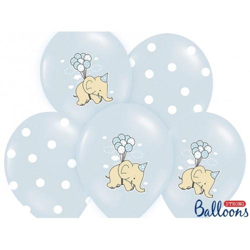 PartyDeco Ballonger Blåa, elefanter