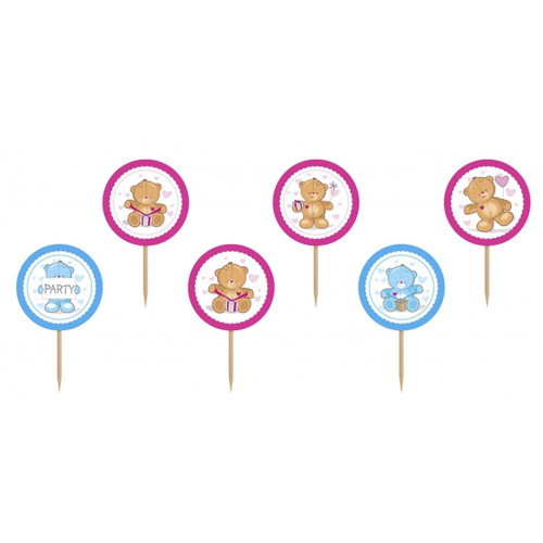PartyDeco Cupcake Toppers Nallebjörn