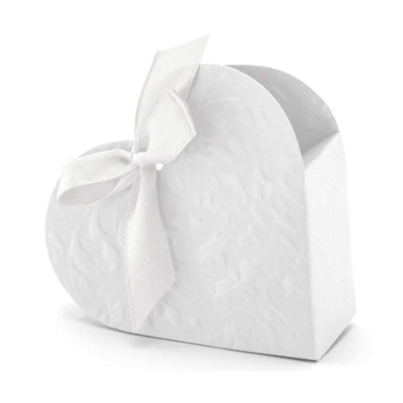 PartyDeco Presentaskar Hjärta, vit