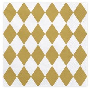 PartyDeco Servetter Harlequin Guld, 20 st