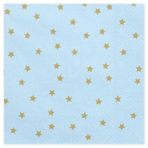 PartyDeco Servetter Ljusblå med guldstjärnor, 20 st