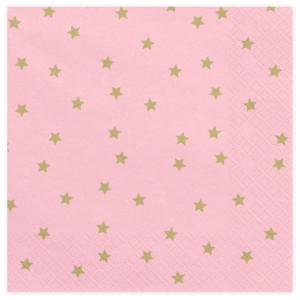 PartyDeco Servetter Ljusrosa med guldstjärnor, 20 st